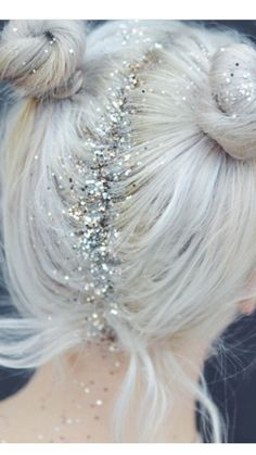 Glitter roots and pigtail buns