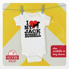 I love my jack russel, baby, onesie #onesie #jackrussel #dogs #jack #russell #dog #ilovemy #love #babyshower #gift #funny #graphicdesign #illustration #cute #toddler #infant #clothing #kids #giftset #children #matching #costume #BOdysuit #lover #animallover #terrier #jrt