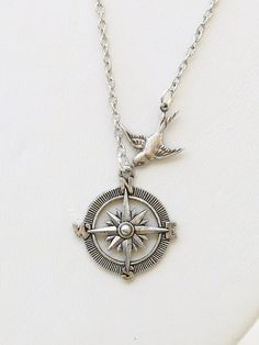 Items similar to Necklace,Silver Necklace,Silver Compass Bird Necklace Steampunk Jewelry Necklace,Jewelry Gift on Etsy Handmade Necklaces, Silver Necklaces, Silver Jewelry, Jewelry Necklaces, Bracelets, Heart Jewelry, Jewelry Gifts, Unique Jewelry, Diy Earrings Easy
