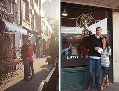 Will your guests be traveling to your home city for your wedding? Give them some vacation inspiration by taking photos in front of tourist hot spots. For this Seattle engagement session, the couple posed in front of the original Starbucks location.