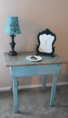 Primitive Farm Table  Vintage Blue  Side Table  by riverdollz, $299.00