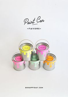 Surprise party guests with bright paint can favors filled with color-coordinated goodies.