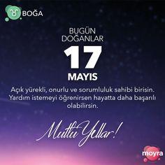 🎂 17 Mayıs doğumlu olan tüm Boğa'lara mutlu yıllar! 🎆 #moyra #moyrabilir #astroloji #boga #bogaburcu #burclar #burc #17mayıs