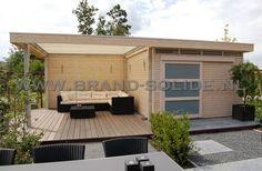 Modern tuinhuis plat dak met schuifdeur overkapping en bovenlichten 350 x 400 ()