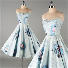 Vintage 1950s Dress . Blue Cotton . Floral by millstreetvintage, $325.00