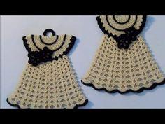PRESINA VESTITINO VINTAGE / UNCINETTO/ CROCHET - YouTube Crochet Kitchen, Crochet Home, Crochet Baby, Free Crochet, Crochet Potholder Patterns, Crochet Doilies, Knitting Patterns, Plastic Canvas Ornaments, Crochet Doll Clothes