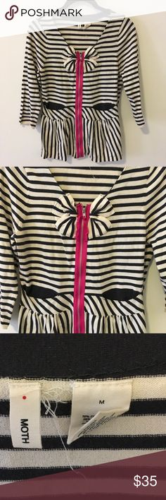 Moth Anthropologie Striped Bow Front Cardigan Cute Moth sweater with 3/4 sleeves and a zipper closure in the front. Striped and is a soft cotton fabric. Not lined and worn lightly. Size medium! Anthropologie Sweaters