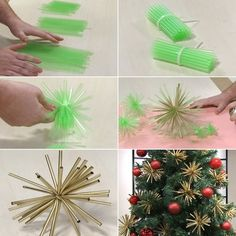 Decorate Your Christmas Tree With These Easy to Make Straw Ornaments   - http://www.amazinginteriordesign.com/decorate-christmas-tree-easy-make-straw-ornaments/