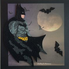 Title: THE DARK KNIGHT This piece is great for anyone who is a Batman fan or collector. All Quilling Art in my shop is handmade by artist. Paper Quilling Cards, Arte Quilling, Quilled Paper Art, Paper Quilling Designs, Quilling Craft, Quilling Patterns, Quilling Ideas, Vinyl Crafts, Paper Crafts