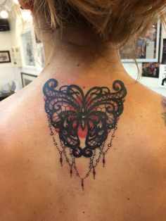 Black Lace Butterfly tattoo with embellishments. ❤️ my Ink!!! Done by Teri at Tattoo Nouveau in Green Bay, WI #tattoo #tattooedrunner