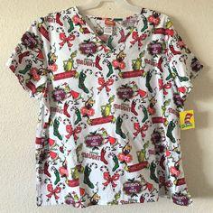 4cbe7130926 Dr Seuss Women s How the Grinch Stole Christmas Uniform V Neck Scrub Top  NWT 2X