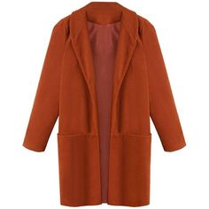 Yoins Yoins Orange Maxi Coat ($34) ❤ liked on Polyvore featuring outerwear, coats, coats & jackets, jackets, yoins, orange, boyfriend coat, lapel coat, orange coat and brown coat