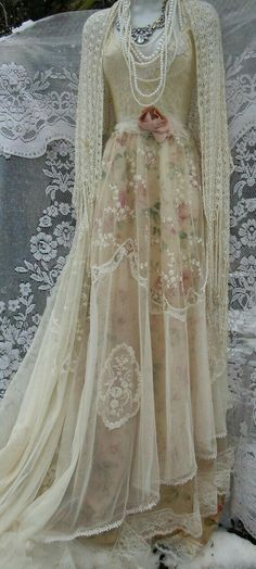 Absolutely beautiful gown with shawl and pearls