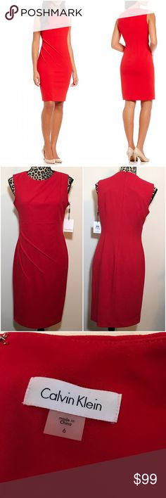 """SALE Calvin Klein Pleated Sheath Dress This is new with tags!  Beautiful Calvin Klein Pleated detail Sheath dress. 94% polyester 6% spandex so it has some stretch. 38"""" length. 18"""" bust. Waist 15.5"""" laying flat at seam. Check out the TOP of my Closet for Current SALES! Calvin Klein Dresses Midi"""