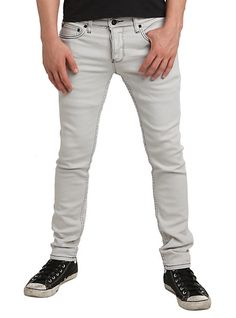 RUDE Chalk Grey Distressed Skinny Jeans | Hot Topic