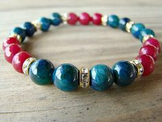 Gemstone Bracelet, Blue Jade, Ruby Red Jade, Gold Tone Spacer Bead Stacking…