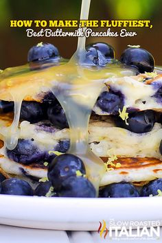 How to make The Fluffiest Blueberry Lemon Buttermilk Pancakes Ever - pretty good - should halve the recipe to avoid tons of left overs, also, the batter starts to go flat the longer it takes to work through the batch.