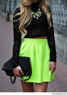 Neon Outfit! The Fashion: Gorgeous dress black fur Summer outfits Teen fashion Cute Dress! Clothes Casual Outift for • teenes • movies • girls • women •. summer • fall • spring • winter • outfit ideas • dates • school • parties mint cute sexy ethnic skirt