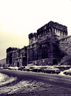 Snowy Eastern State Penitentiary.
