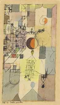 Paul Klee (1879-1940) Zahlenpavillon (Pavilion of Numbers) signed 'Klee' (lower right); dated, titled and numbered '1918 29 Zahlenpavillon' (lower left on the artist's mount) watercolour and pen and ink on paper laid down on the artist's mount Image: 6 3/8 x 3 1/2 in. (16.3 x 8.9 cm.) Artist's mount: 7 1/8 x 4 1/8 in. (18 x 10.5 cm.) Executed in 1918