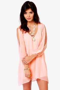 Pink V-neck Cut-out Sleeves Shift Chiffon Dress