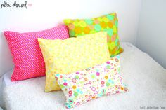 DIY No Sew Pillows  - love the bright colours for summer - use different fabrics for different seasons  - very easy and inexpensive  #diy #diynosewpillows