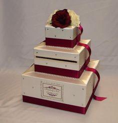 Elegant Custom made Ivory/Burgundy(Deep Red)Wedding Card Box-any colors-crystal details - Wedding Decorations Money Box Wedding, Wedding Gift Boxes, Wedding Cards, Diy Wedding, Wedding Gifts, Wedding Reception, Wedding Venues, Wedding Wishes, Reception Ideas