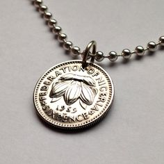 1959 Nigeria 6 pence coin pendant necklace jewelry Africa African COCOA BEANS plant flowering blossom flora leaves cacao tree No.001190 by acnyCOINJEWELRY on Etsy