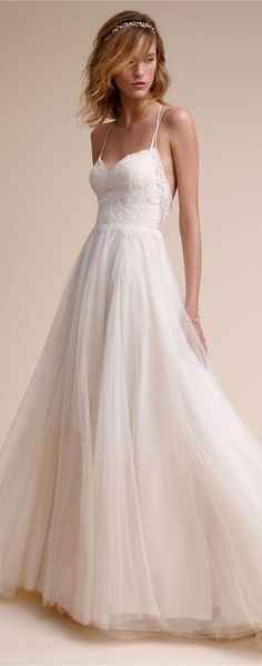 Wedding Dress | Rosalind Bridal Gown with spaghetti straps sweetheart neckline a-line tulle skirt #weddingdress #weddingdresses #bridalgown #bridal #bridalgowns #weddinggown #bridetobe #weddings #bride