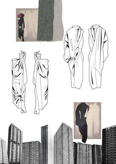 Fashion Sketchbook - draped dress sketches; architectural fashion design; fashion portfolio // Chloe Bayles