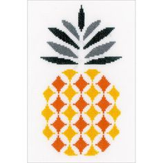 "Pineapple On Aida Counted Cross Stitch Kit-6.25""X10.25"" 14 Count"