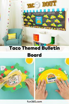 Taco 'bout a fun way to decorate your classroom! This fun taco themed bulletin board is full of student projects made with a free printable. Check it out! Reading Corner Classroom, First Grade Classroom, Classroom Door, Future Classroom, Classroom Themes, Daycare Lesson Plans, Dragons Love Tacos, Church Bulletin Boards, Diy Wedding Projects