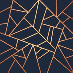 'Copper and Midnight Navy' Art Print by Elisabeth Fredriksson Gold Geometric Wallpaper, Rose Gold Wallpaper, Copper Wallpaper, Gold Wallpaper Designs, Blue Wallpaper Bedroom, Geometric Wallpaper Living Room, Navy Wallpaper, Unique Wallpaper, Blue And Gold Bedroom