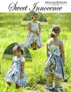 Sweet Innocence sizes 2 to 10 Included is patterns for 3 dresses, 2 under dresses, and pants in 2 styles. This newly updated version also includes 4 different sleeve lengths for the peasant dress and pattern has been updated to include sizes 2 to 10. Dress A crosses in the [...]