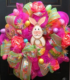 easter mesh wreaths | Chic Happy Easter Bunny Wreath Deco Mesh Round Top