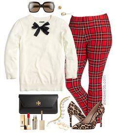 b18d81be200 Plus Size Plaid Pants Outfit Ideas - Plus Size Fall Winter Outfit Ideas -  Plus Size