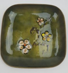 Bovano vintage mid century enamel dish green stylized floral glass on copper