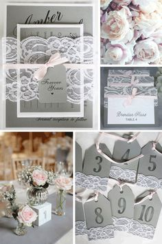 Classic grey and pink lace wedding invitations, escort cards and table number tags by always, by amber @alwaysbyamber