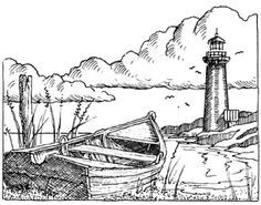 Impression Obsession Cling Mounted Rubber Stamp by Gary Robertson - Lighthouse Colouring Pages, Adult Coloring Pages, Coloring Books, Wood Burning Patterns, Wood Burning Art, Lighthouse Drawing, Pyrography Patterns, Impression Obsession, Digital Stamps