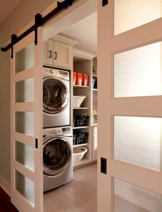 The perfect way to partition off your basement laundry room: sliding opaque doors. Get yours installed by Lake City Home Improvements. www.lakecity.ca