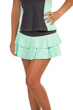 Show No Love Women s Summer League Flounce Tennis Skirt in platinum seafoam  (size m 62436dccb19bb