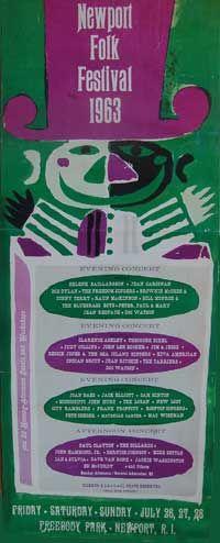 Newport Folk Festival poster featuring Bob Dylan, July 26, 27, 28, 1963