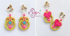 KaoriNa. Soutashie Button Crafts, Shibori, Crochet Earrings, Jewelry Making, Beads, How To Make, Accessories, Buttons, Earrings