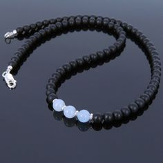 Handmade Men Women Healing Gemstone Necklace 6mm± Natural Grade AA Aquamarine 5mm Matte Black Onyx 925 Sterling Silver Spacers & Clasp Discount