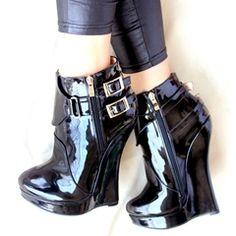 Shoespie Double Metal Buckles Side zipper Wedge Heels
