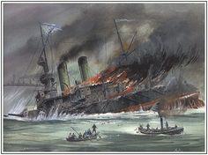 The Russian Battleship Admiral Ushakov sinking at the Battle of Tsushima.