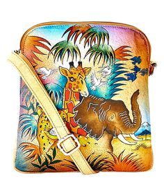This Brown & Blue Jungle Hand-Painted Leather Crossbody Bag by Biacci is perfect! #zulilyfinds
