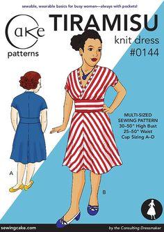 "Tiramisu Knit Dress from Cake Patterns- Multi-Size 30""-50"" high bust, 25""-50"" waist Second Edition"
