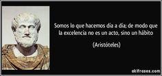 Somos lo que hacemos día a día; de modo que la excelencia no es un acto, sino un hábito (Aristóteles)