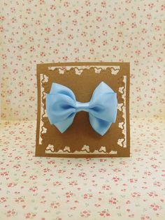 Handmade ribbon hair bow in Pink Blue to Large French Clip #LF002